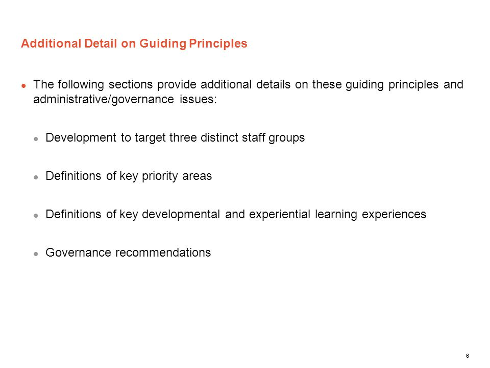 Additional Detail on Guiding Principles