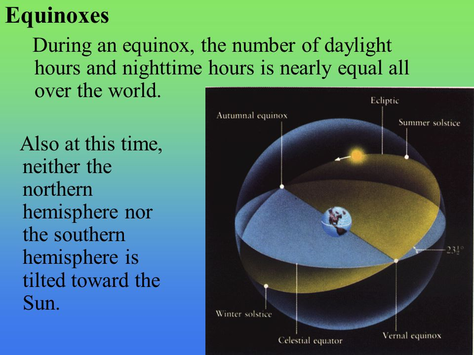 Equinoxes During an equinox, the number of daylight hours and nighttime hours is nearly equal all over the world.