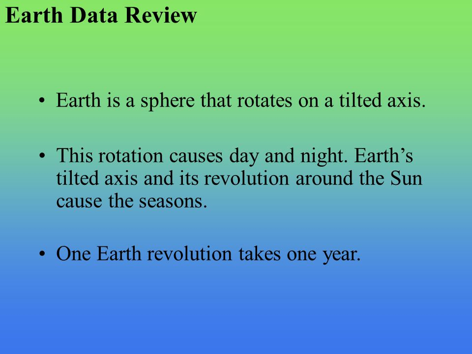 Earth Data Review Earth is a sphere that rotates on a tilted axis.