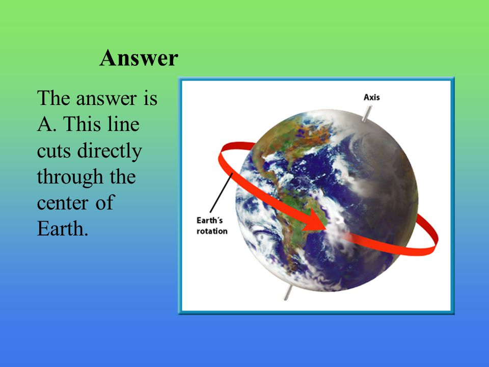 Answer The answer is A. This line cuts directly through the center of Earth.