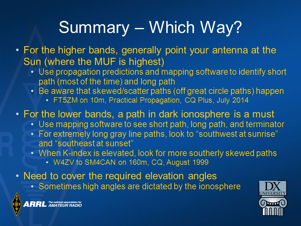Summary – Which Way For the higher bands, generally point your antenna at the Sun (where the MUF is highest)