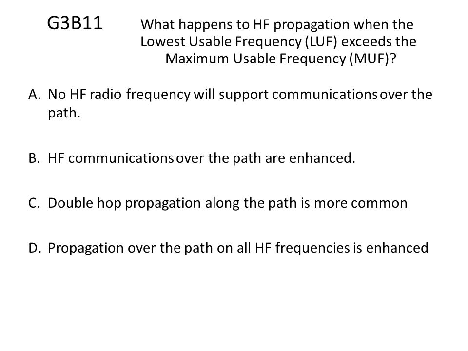 G3B11. What happens to HF propagation when the