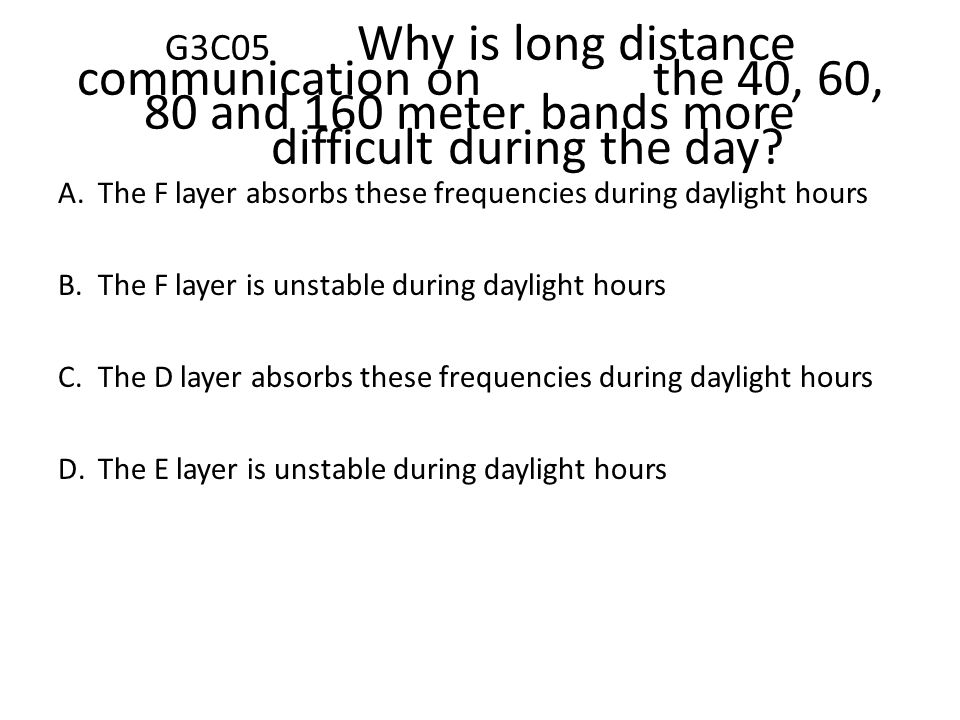 G3C05. Why is long distance communication on