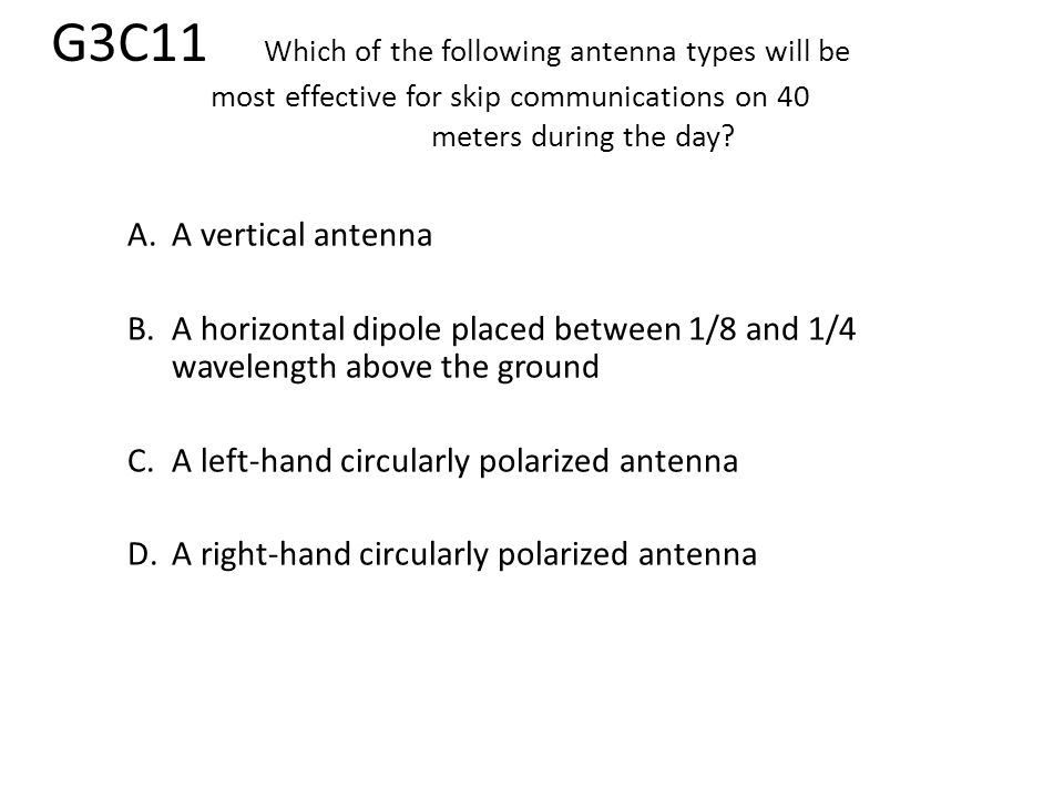 G3C11. Which of the following antenna types will be