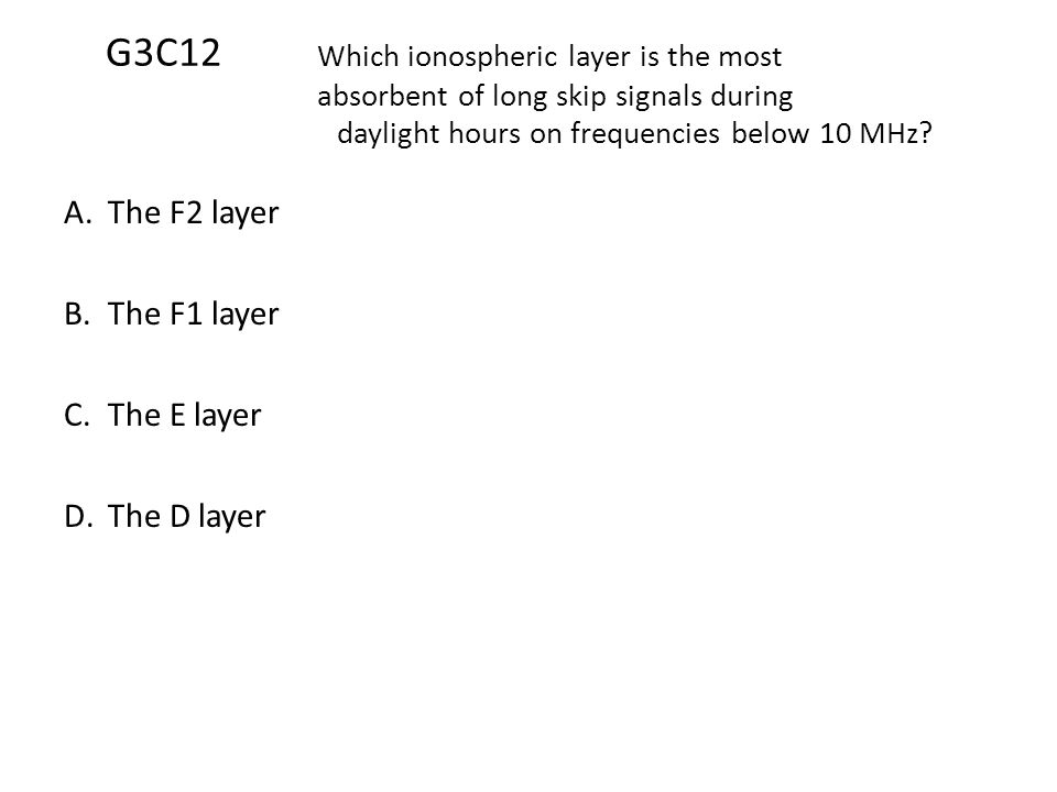 G3C12. Which ionospheric layer is the most