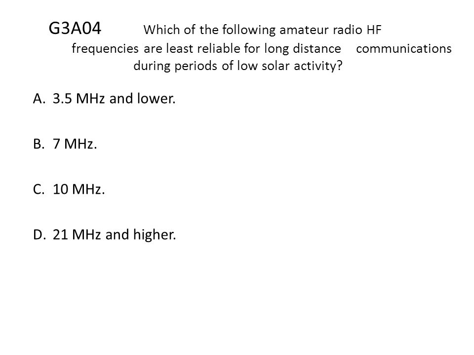 G3A04. Which of the following amateur radio HF
