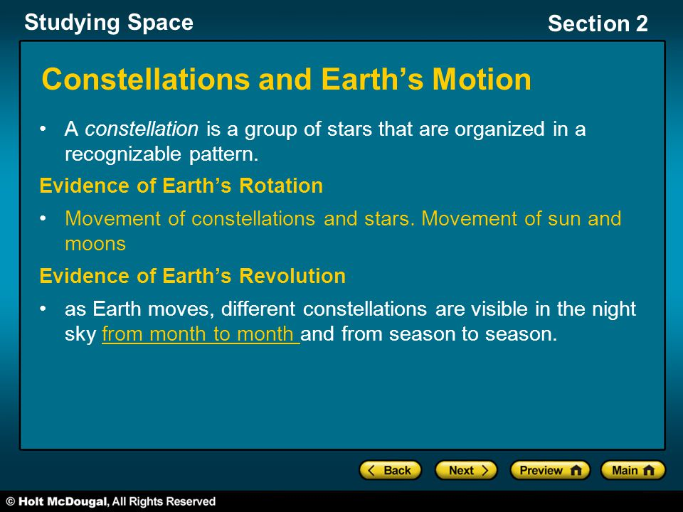 Constellations and Earth's Motion