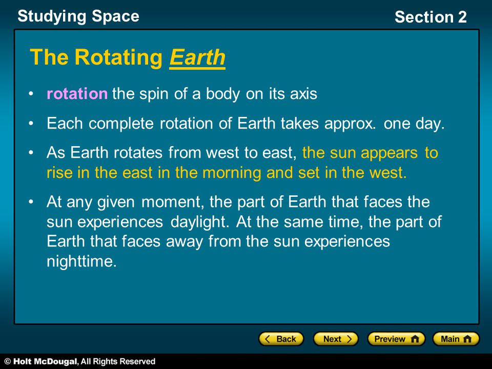The Rotating Earth rotation the spin of a body on its axis