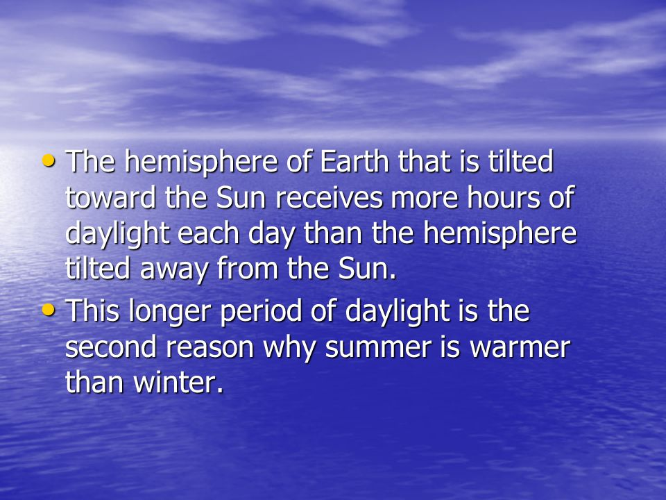 The hemisphere of Earth that is tilted toward the Sun receives more hours of daylight each day than the hemisphere tilted away from the Sun.