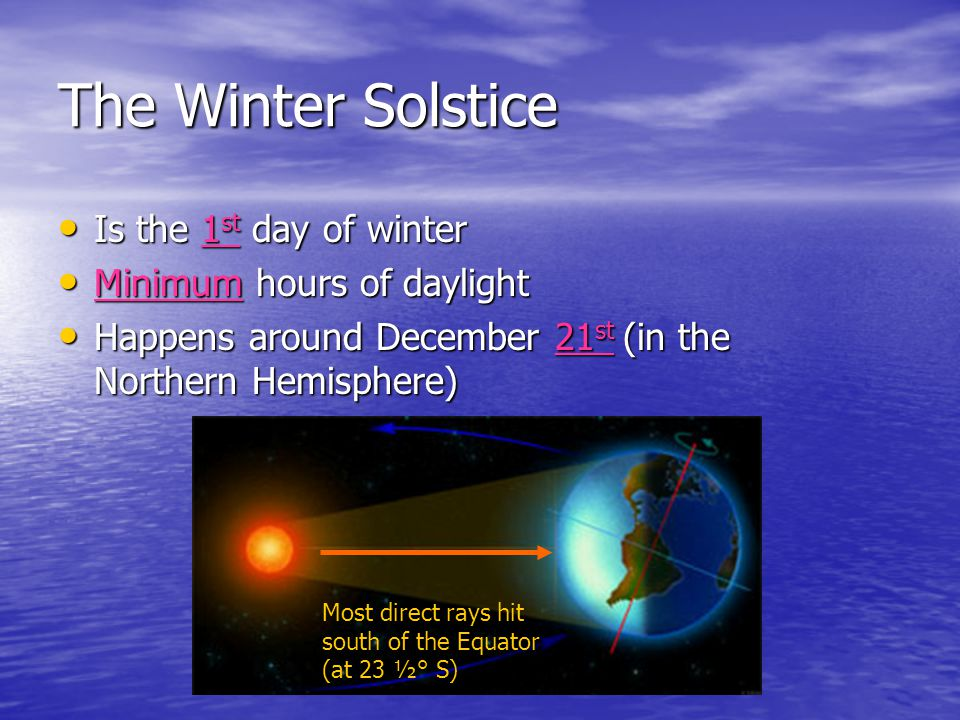 The Winter Solstice Is the 1st day of winter Minimum hours of daylight