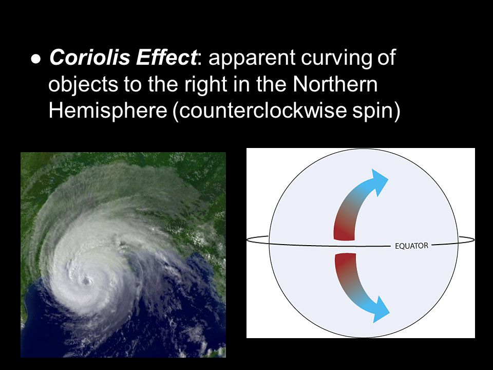 Coriolis Effect: apparent curving of objects to the right in the Northern Hemisphere (counterclockwise spin)