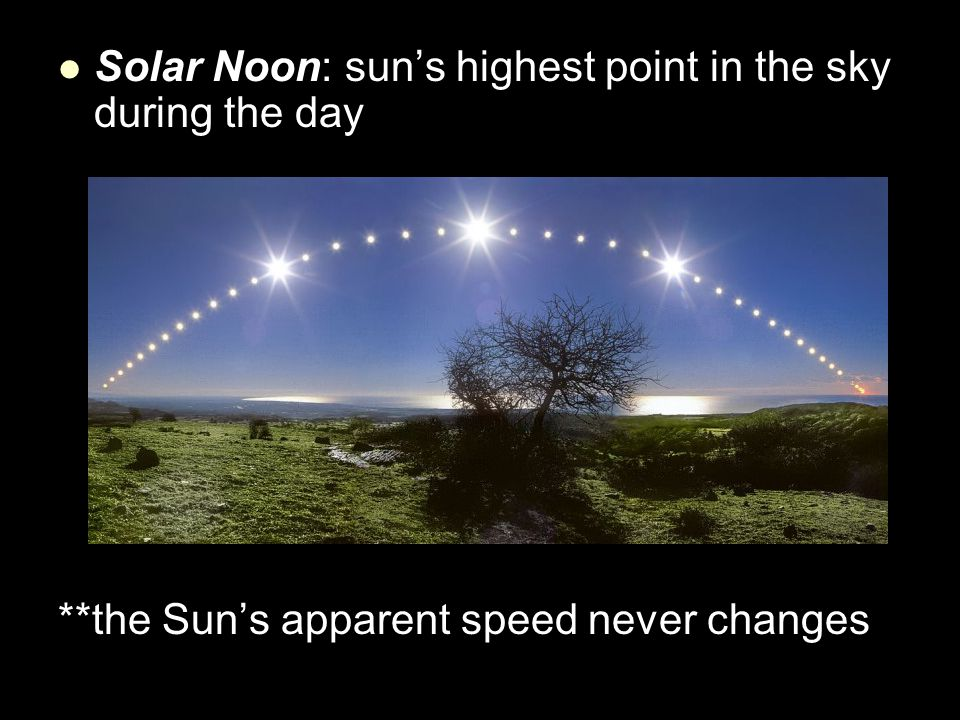 Solar Noon: sun's highest point in the sky during the day