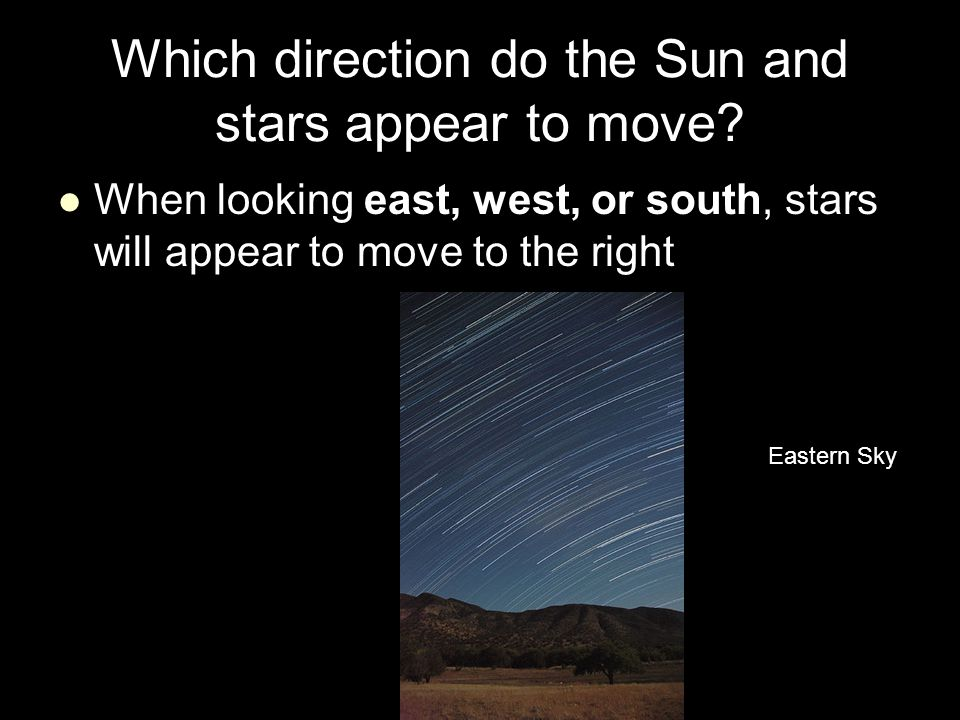 Which direction do the Sun and stars appear to move