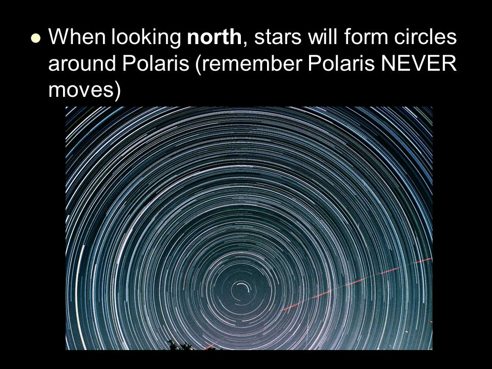 When looking north, stars will form circles around Polaris (remember Polaris NEVER moves)