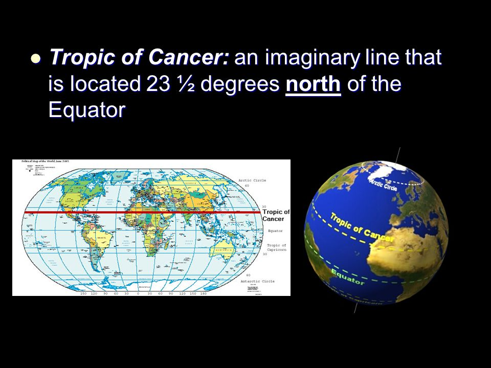 Tropic of Cancer: an imaginary line that is located 23 ½ degrees north of the Equator
