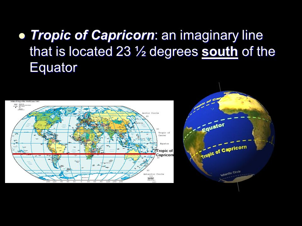 Tropic of Capricorn: an imaginary line that is located 23 ½ degrees south of the Equator