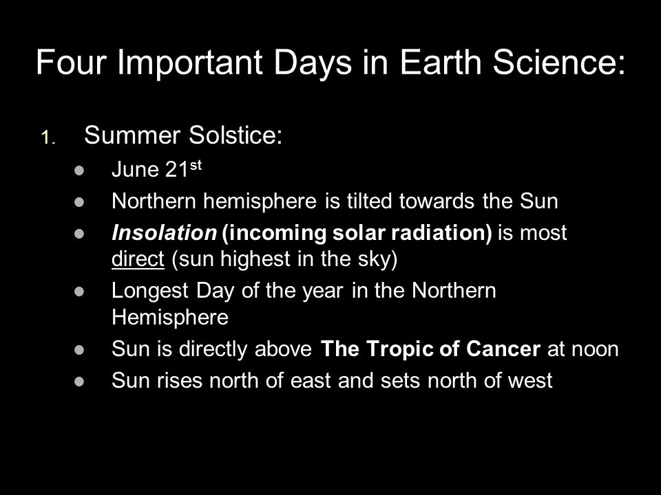 Four Important Days in Earth Science: