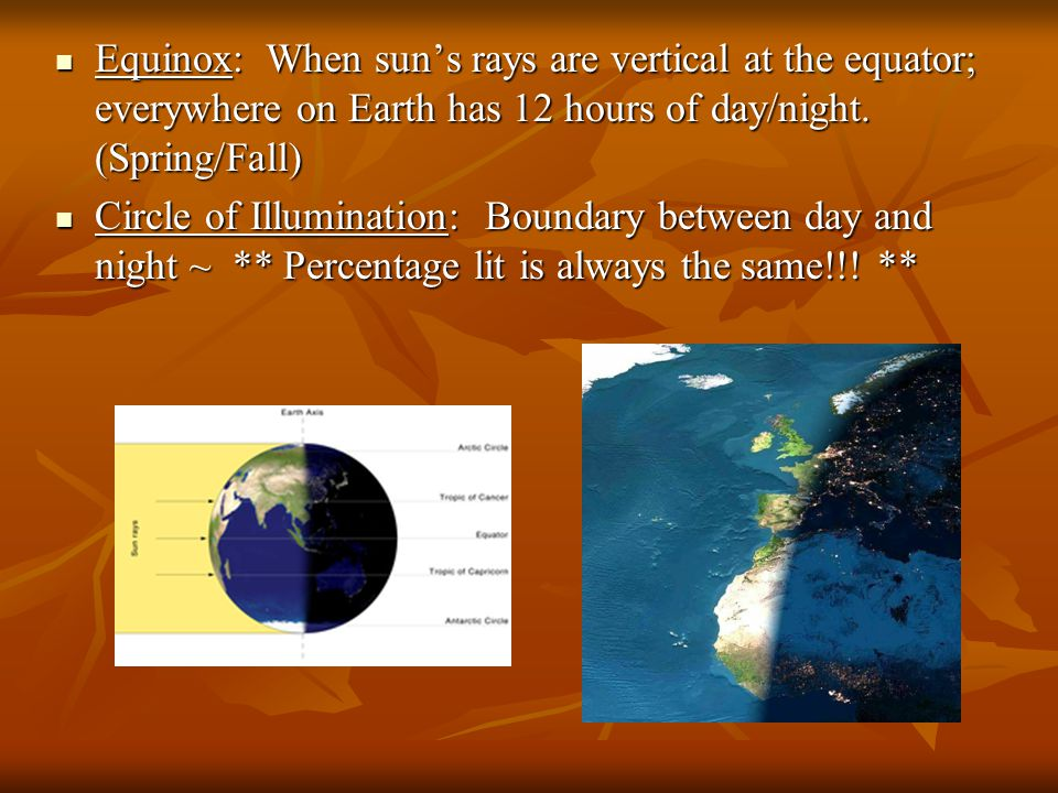 Equinox: When sun's rays are vertical at the equator; everywhere on Earth has 12 hours of day/night. (Spring/Fall)
