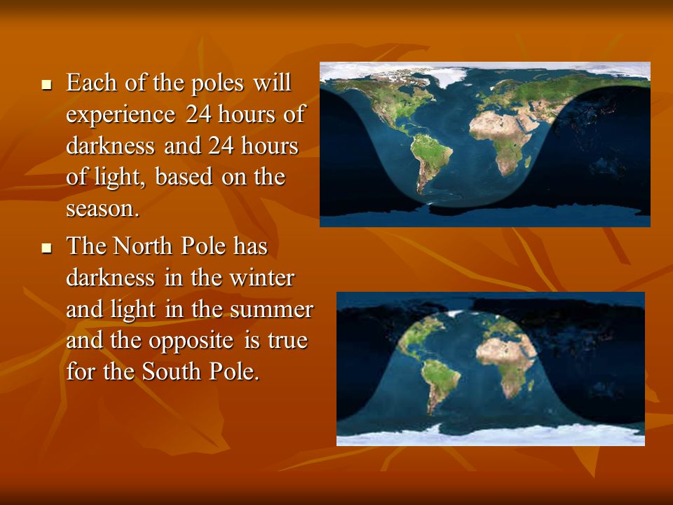 Each of the poles will experience 24 hours of darkness and 24 hours of light, based on the season.