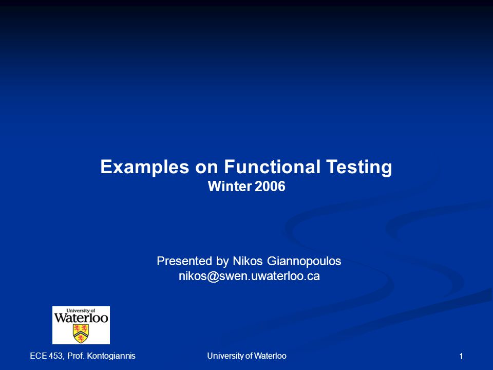 Examples on Functional Testing