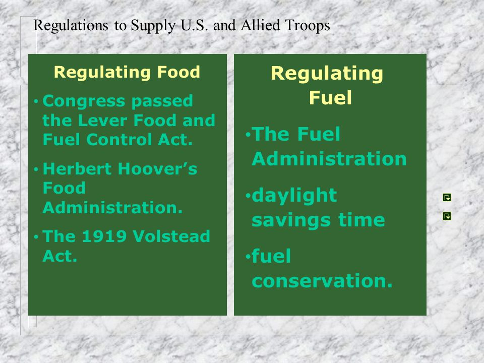 Regulations to Supply U.S. and Allied Troops