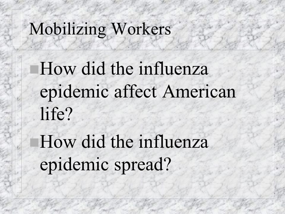 How did the influenza epidemic affect American life