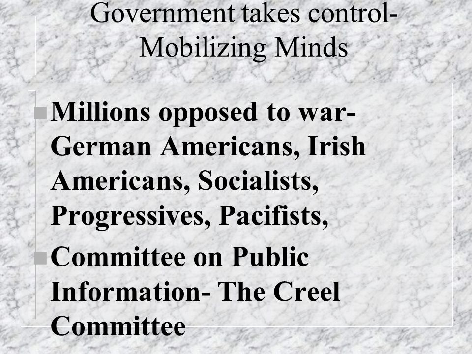 Government takes control- Mobilizing Minds