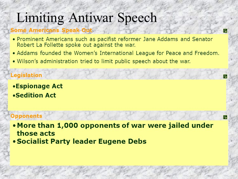 Limiting Antiwar Speech
