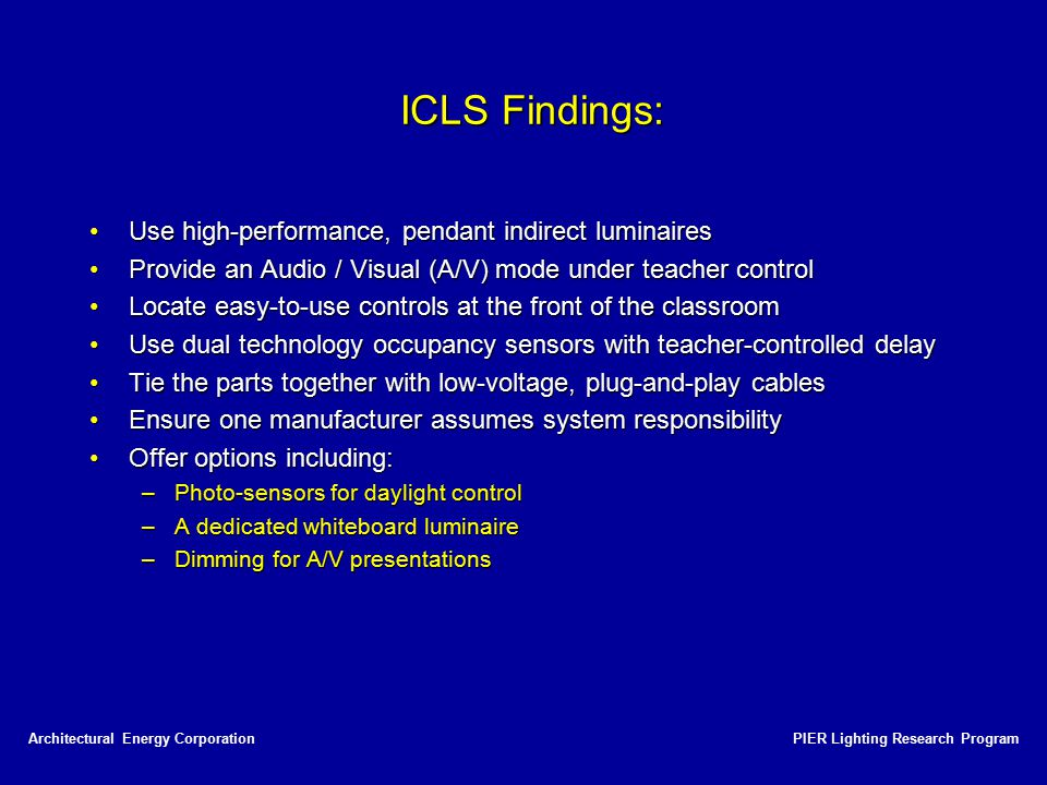ICLS Findings: Use high-performance, pendant indirect luminaires