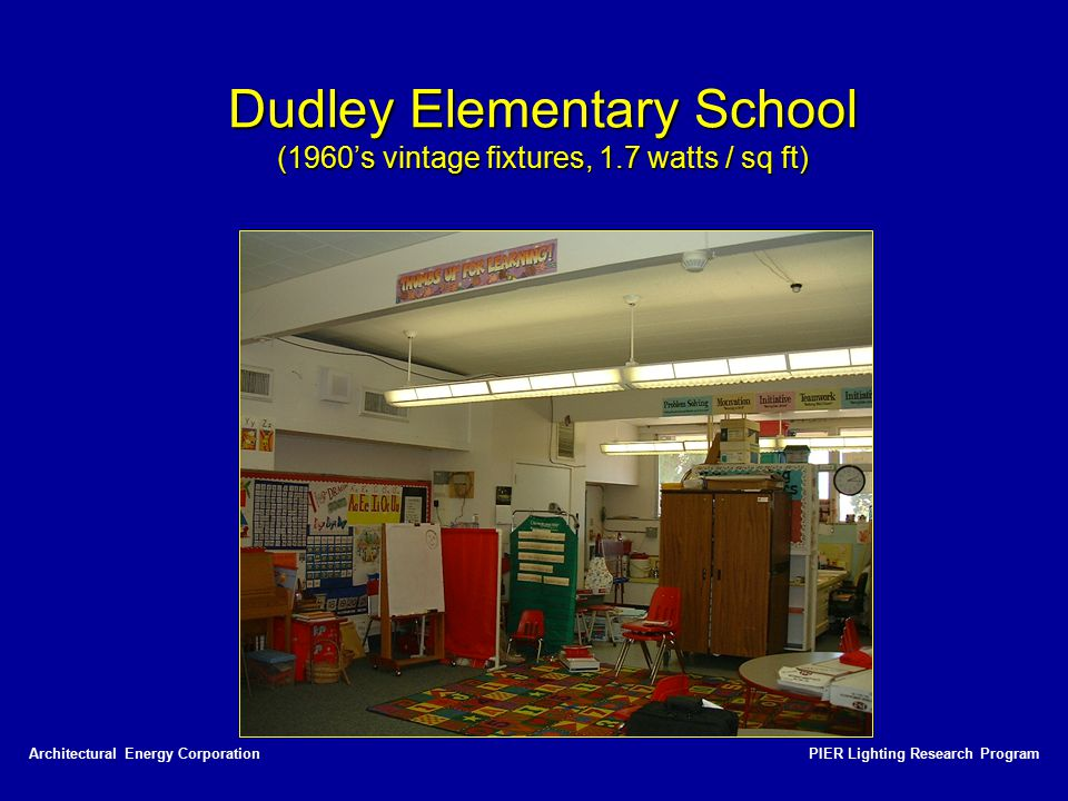 Dudley Elementary School (1960's vintage fixtures, 1.7 watts / sq ft)