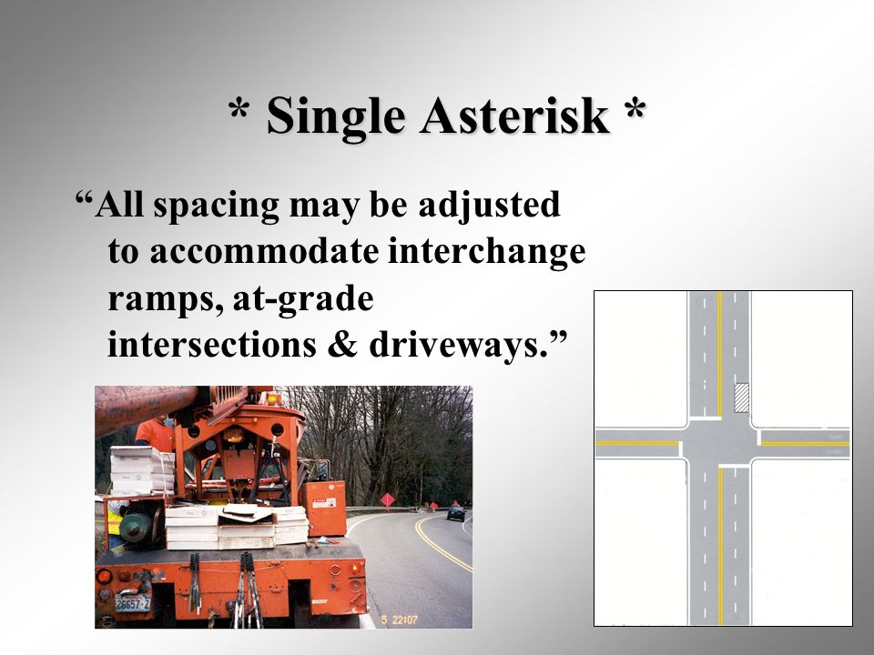* Single Asterisk * All spacing may be adjusted to accommodate interchange ramps, at-grade intersections & driveways.