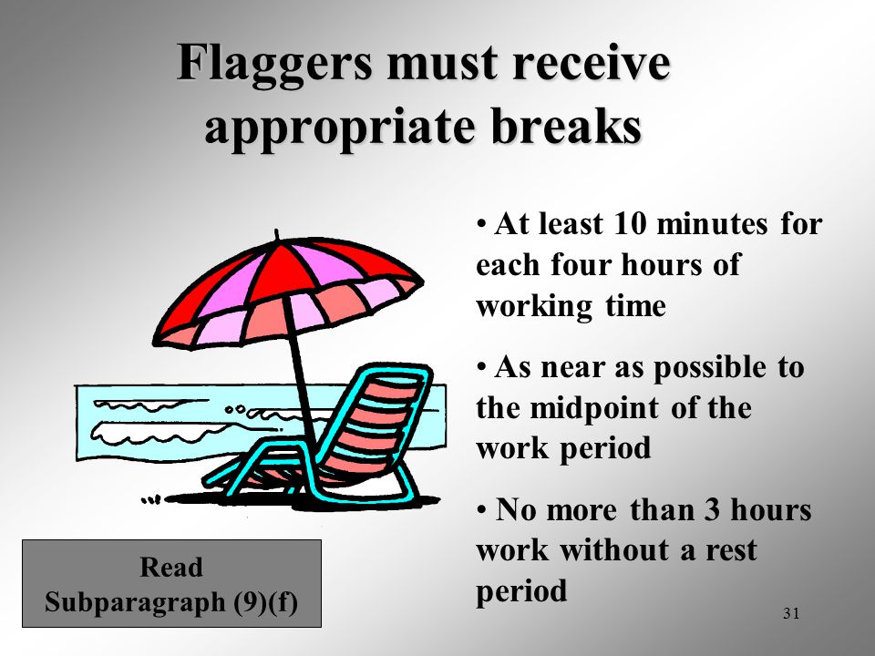 Flaggers must receive appropriate breaks