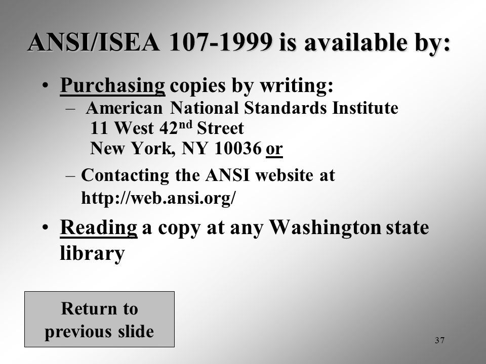 ANSI/ISEA 107-1999 is available by: