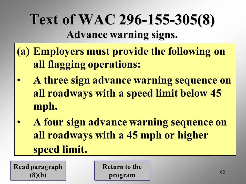 Text of WAC 296-155-305(8) Advance warning signs.