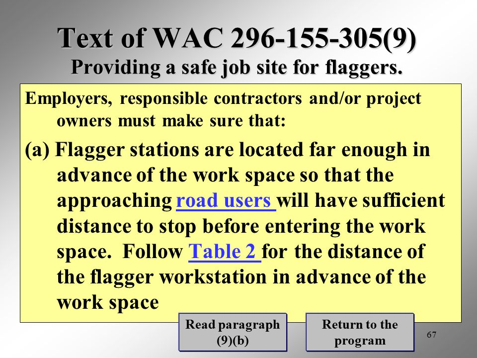 Text of WAC 296-155-305(9) Providing a safe job site for flaggers.