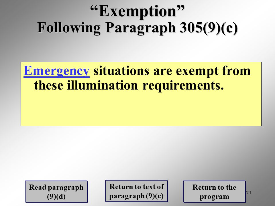 Exemption Following Paragraph 305(9)(c)