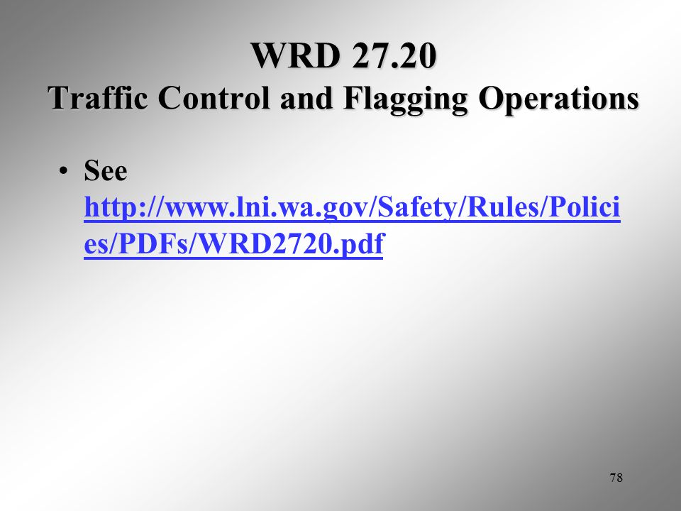 WRD 27.20 Traffic Control and Flagging Operations