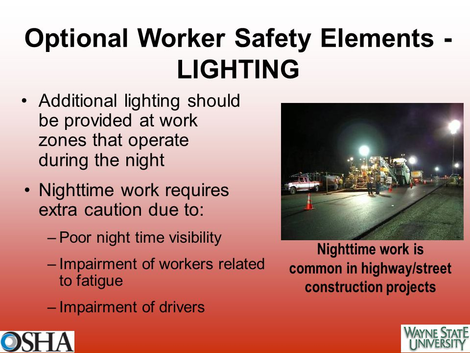 Optional Worker Safety Elements - LIGHTING