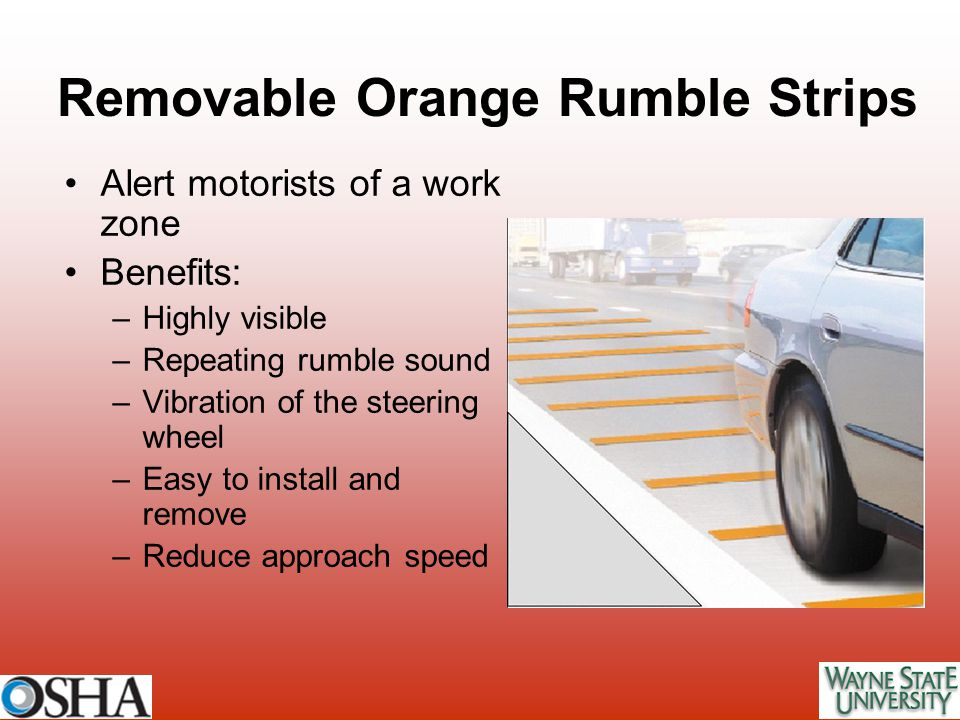 Removable Orange Rumble Strips