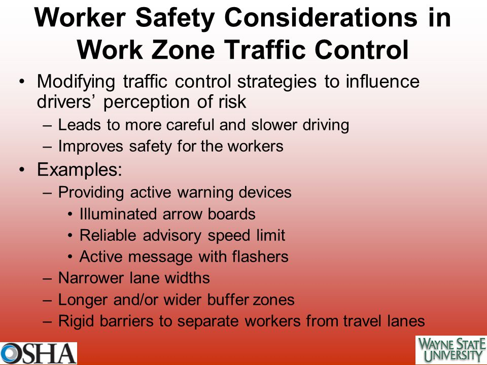 Worker Safety Considerations in Work Zone Traffic Control