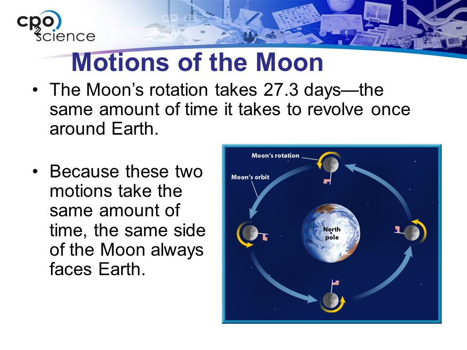 2 Motions of the Moon. The Moon's rotation takes 27.3 days—the same amount of time it takes to revolve once around Earth.