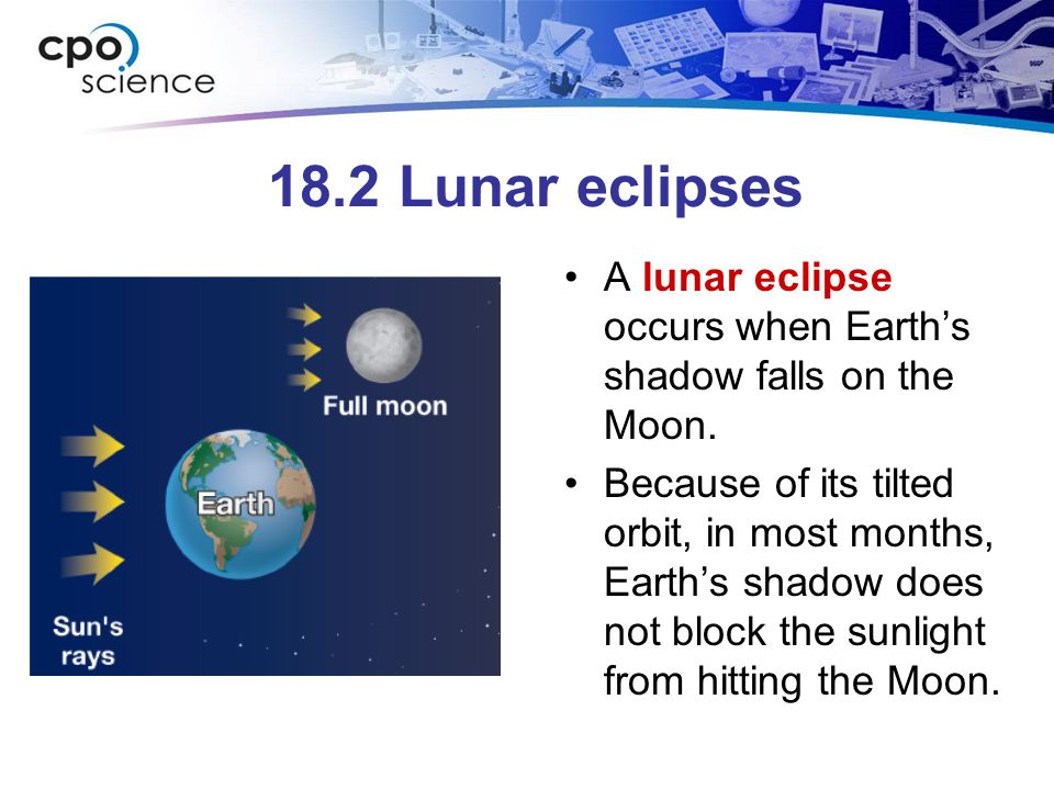 18.2 Lunar eclipses A lunar eclipse occurs when Earth's shadow falls on the Moon.