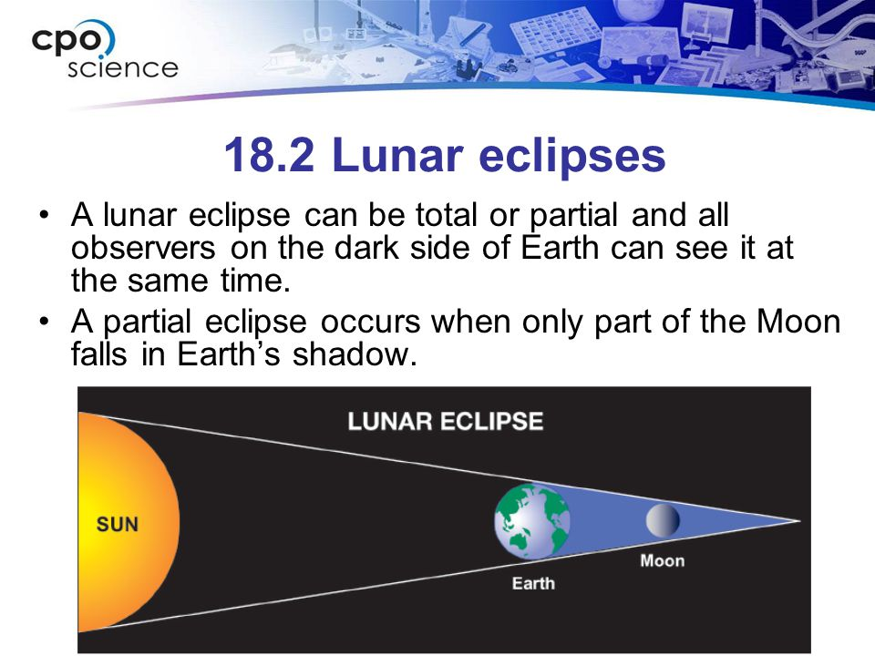 18.2 Lunar eclipses A lunar eclipse can be total or partial and all observers on the dark side of Earth can see it at the same time.