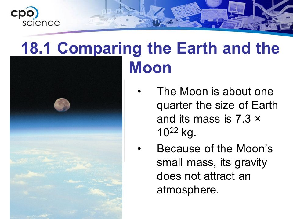 18.1 Comparing the Earth and the Moon