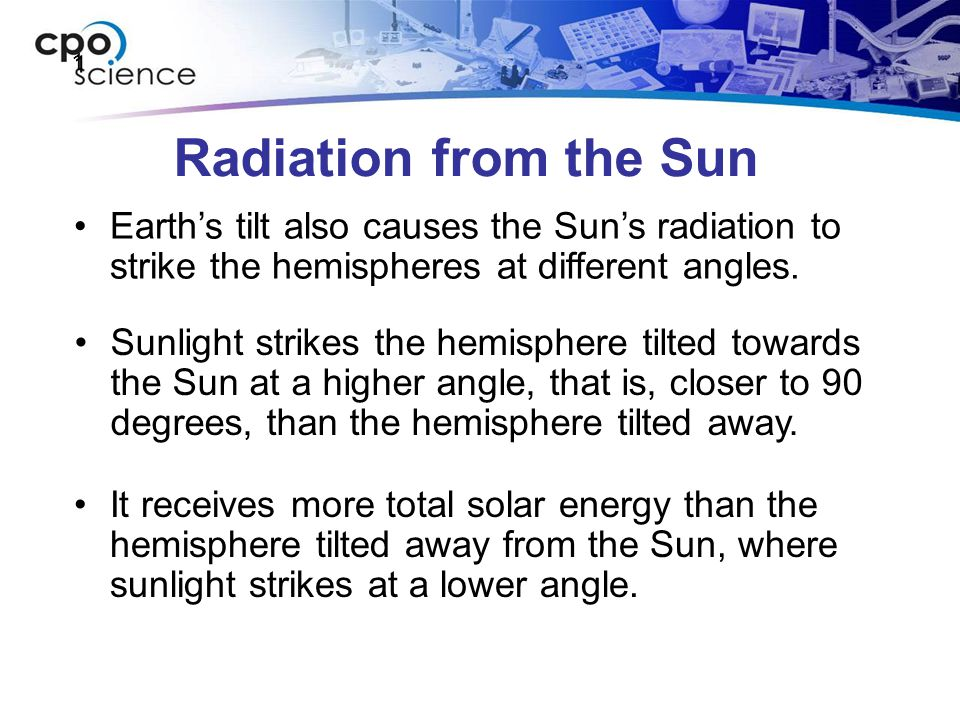 1 Radiation from the Sun. Earth's tilt also causes the Sun's radiation to strike the hemispheres at different angles.