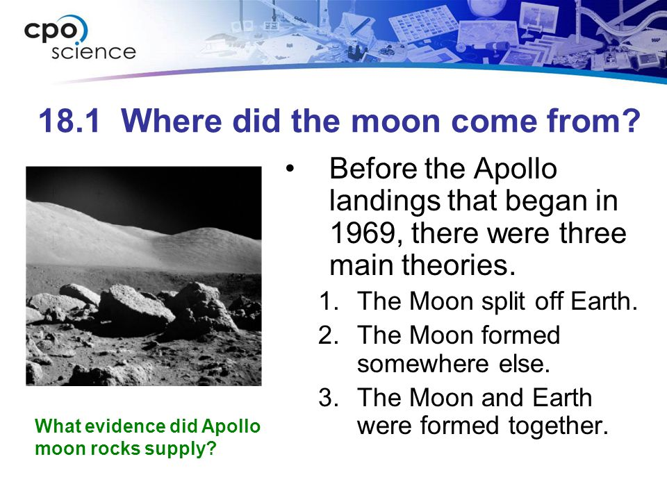 18.1 Where did the moon come from