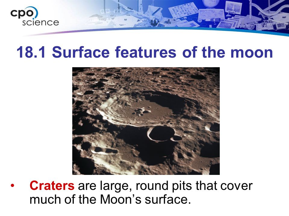 18.1 Surface features of the moon