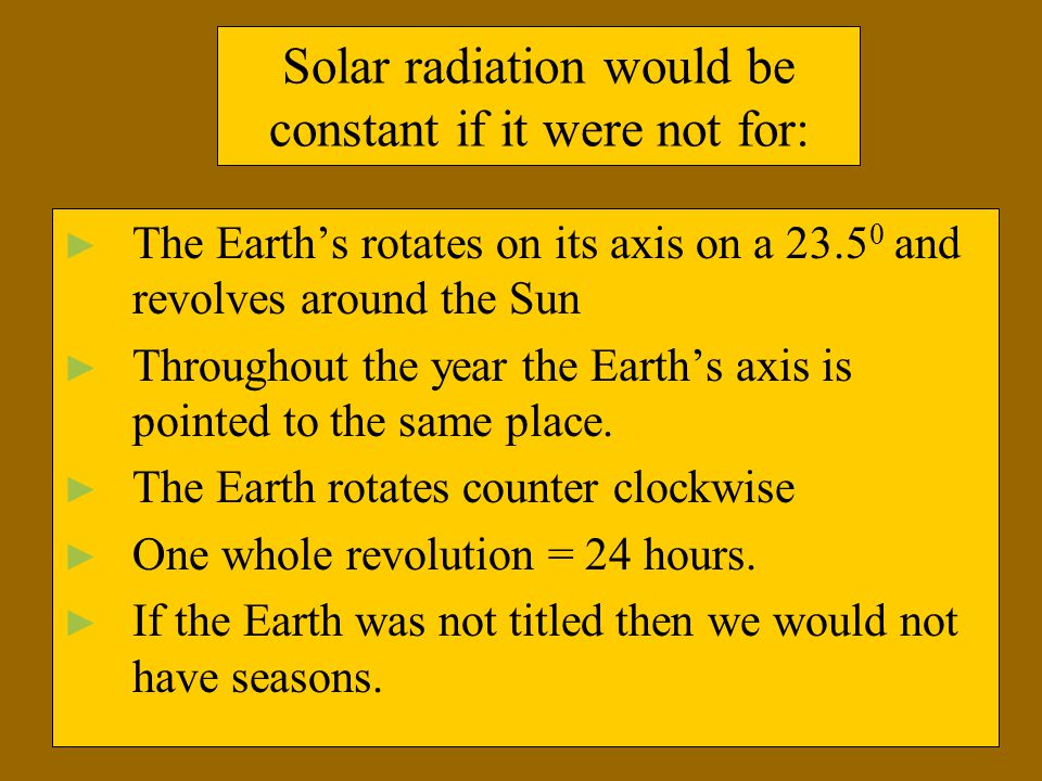 Solar radiation would be constant if it were not for: