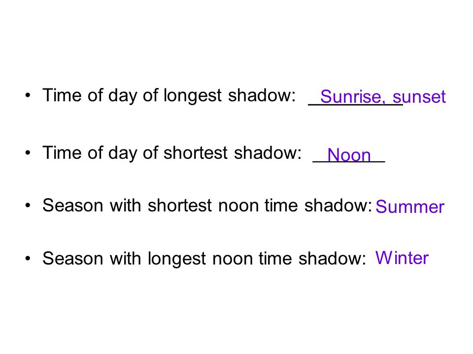Time of day of longest shadow: ________