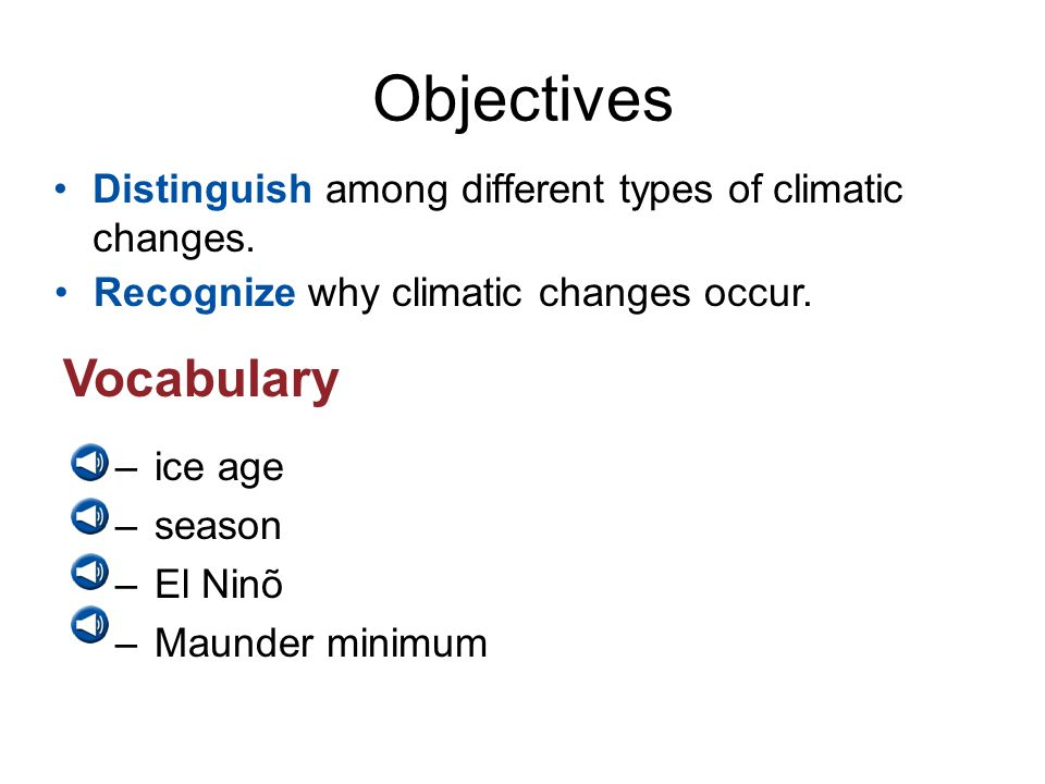 Objectives Vocabulary